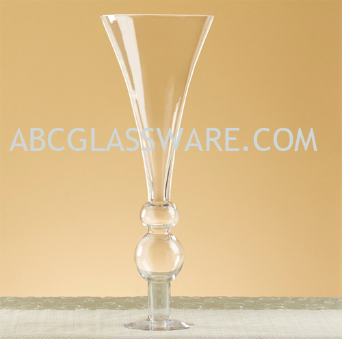 10 Open 28h Trumpet Pedestal Vase Set Of 2 Abc Glassware