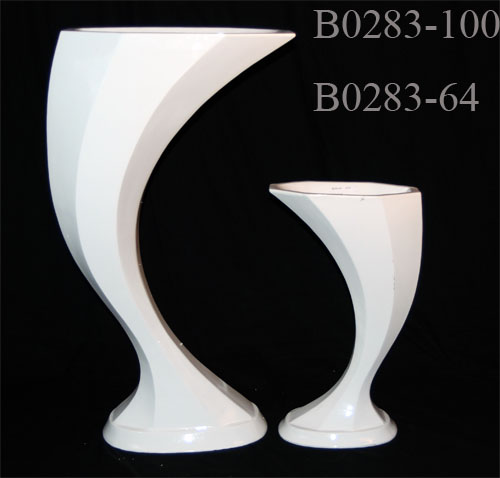 Large Tall Decorative Wave Shape Vase 24h Abc Glassware